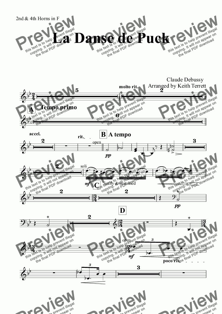 page one of the 2nd & 4th Horns in F part from La Danse de Puck for Symphonic Wind Band (Keith Terrett Classic Band Series)