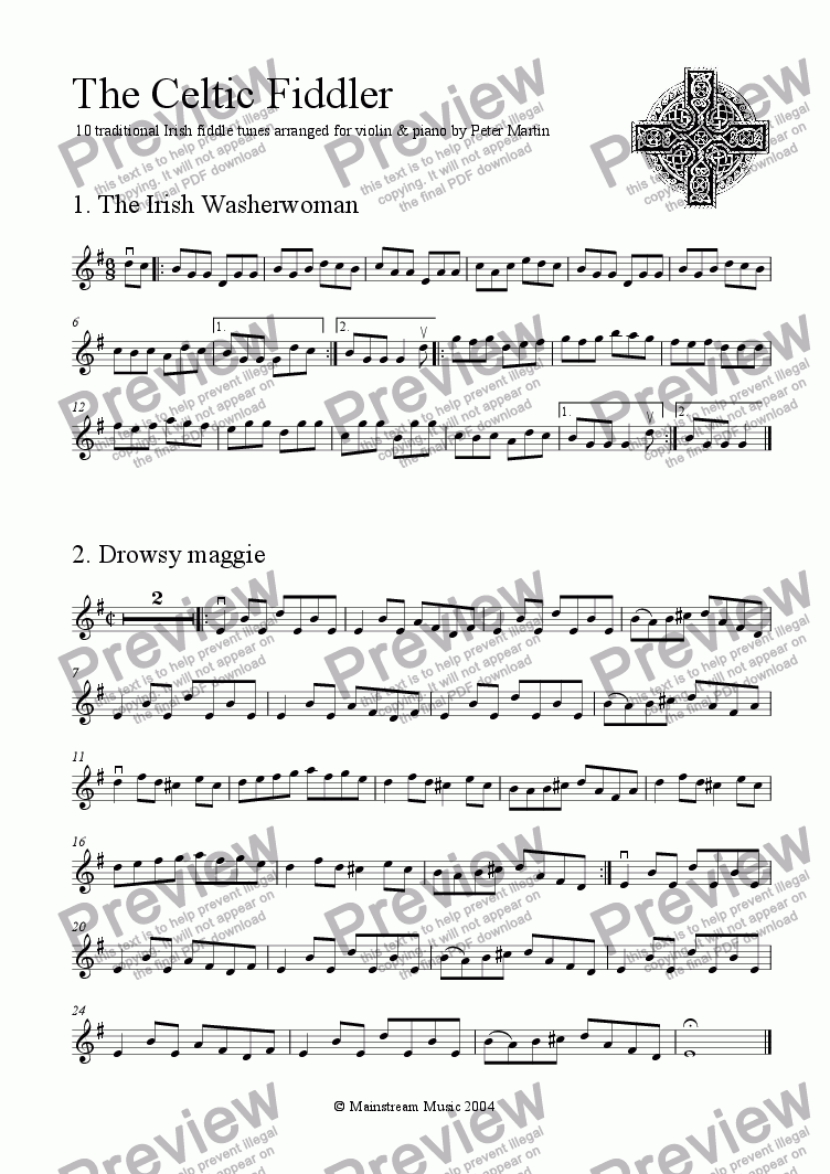 page one of the Violin part from The Celtic Fiddler
