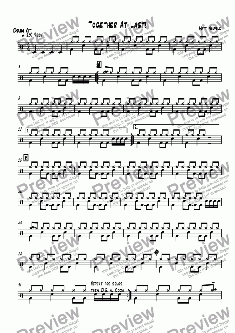 page one of the Drums part from Together At Last!