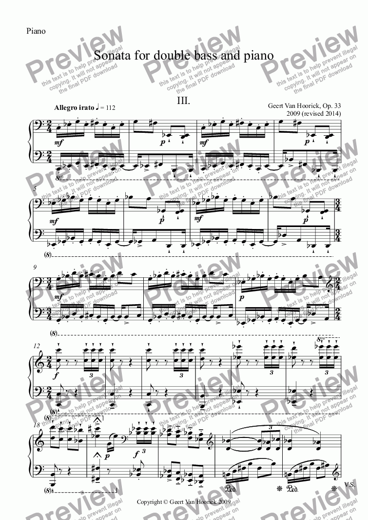 page one of the Piano part from Sonata for double bass and piano, Op. 33 - III. Allegro irato