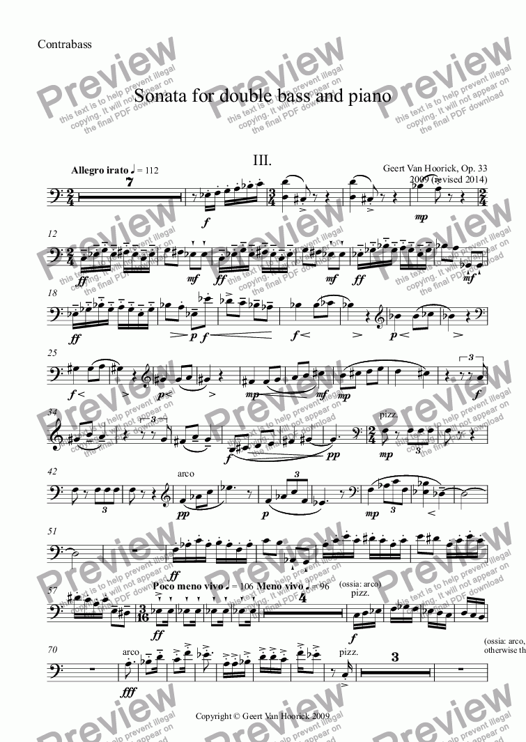 page one of the Contrabass part from Sonata for double bass and piano, Op. 33 - III. Allegro irato