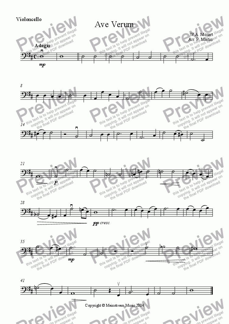 page one of the Cello part from Ave Verum
