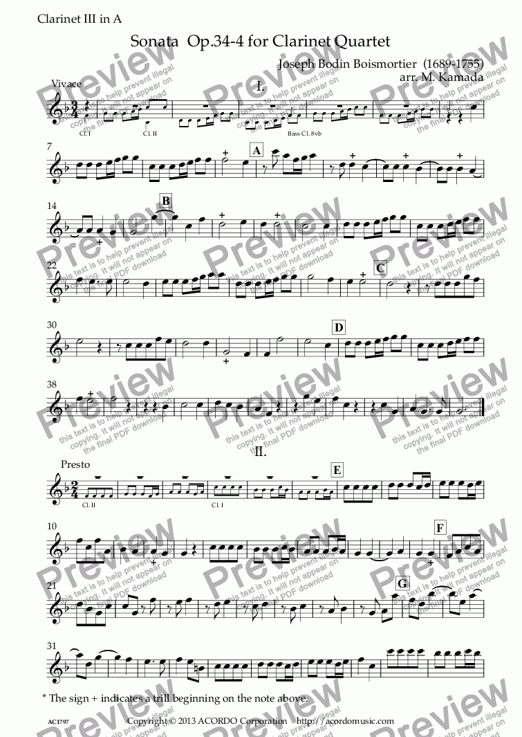 page one of the Clarinet III in A part from Sonata  Op.34-4 for Clarinet Quartet