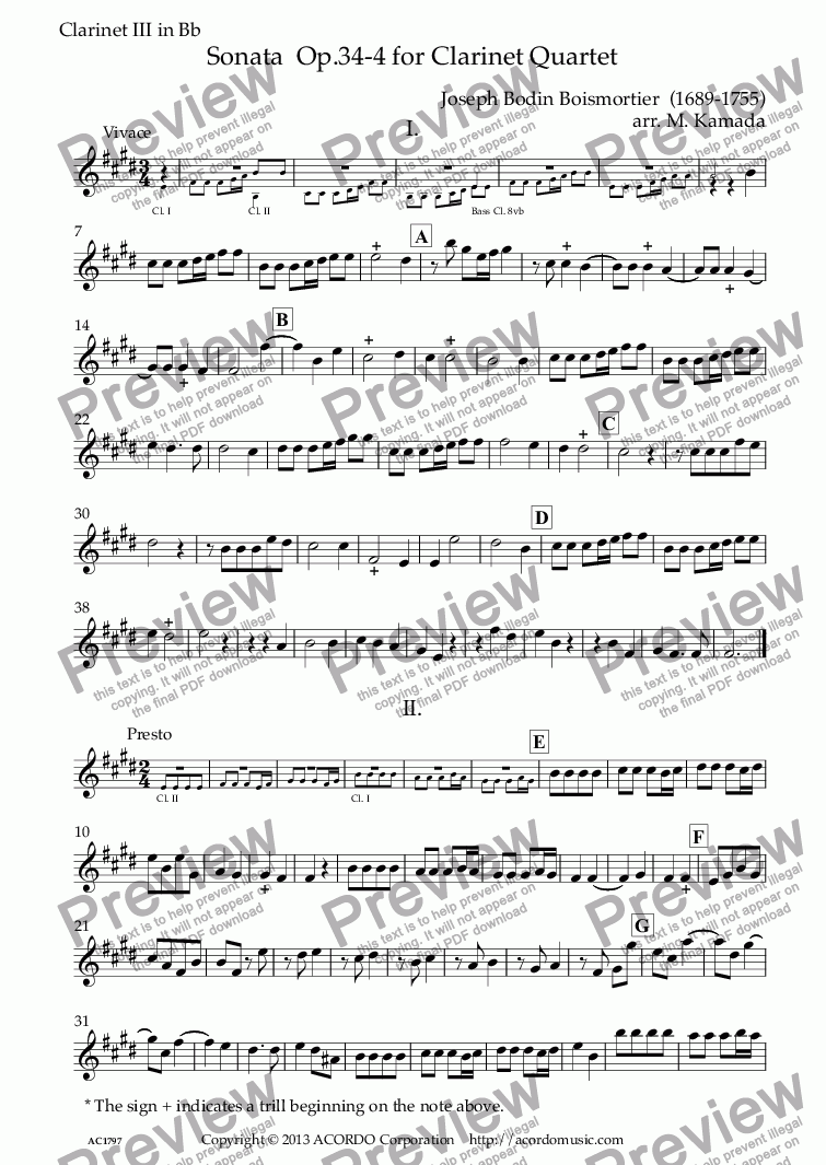 page one of the Clarinet III in Bb part from Sonata  Op.34-4 for Clarinet Quartet
