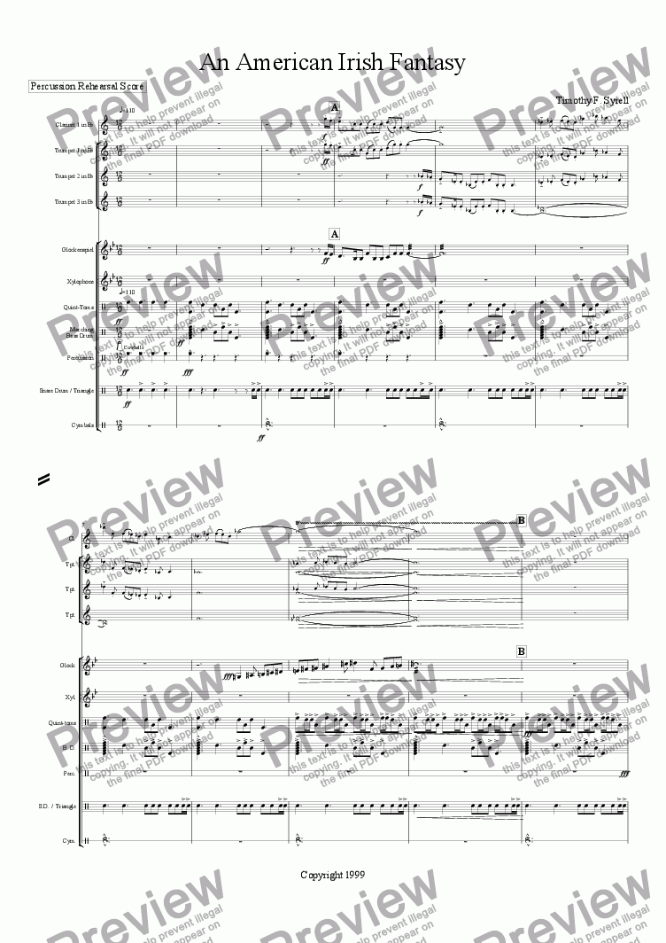 page one of the Percussion Section Rehearsal Score part from An American Irish Fantasy