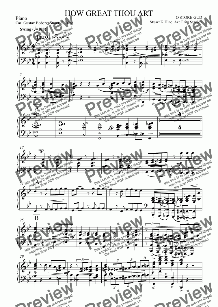 page one of the Piano part from HOW GREAT THOU ART