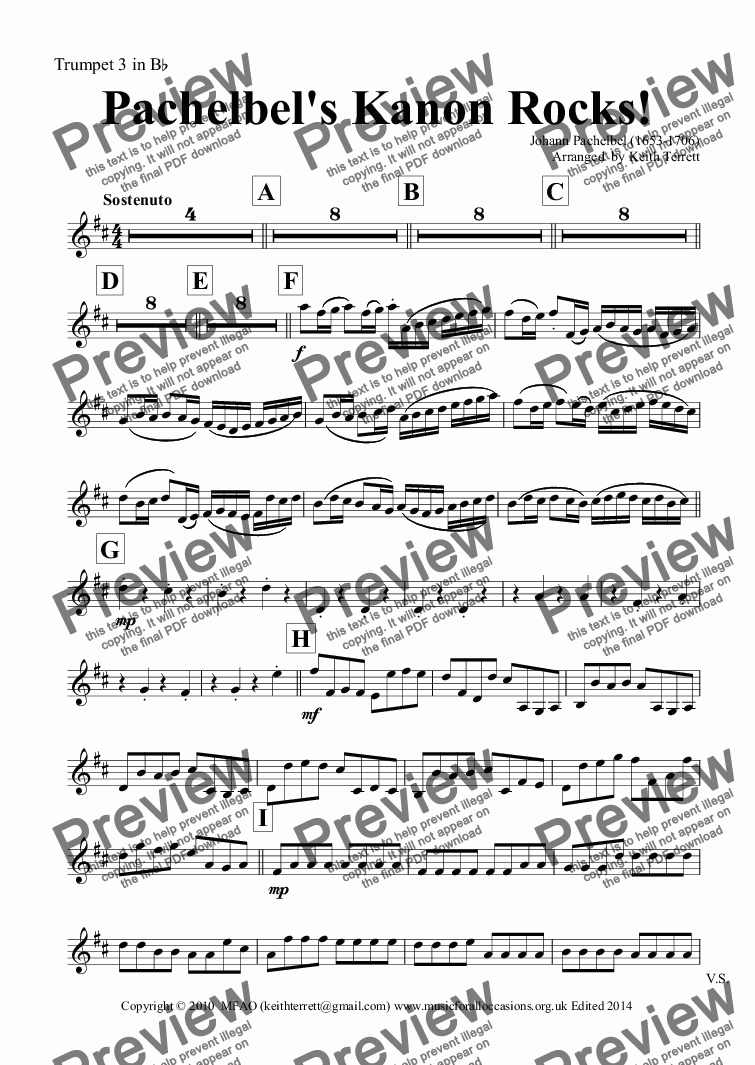 page one of the Trumpet 3 in B^b part from Pachelbel's Kanon Rocks for Concert Band