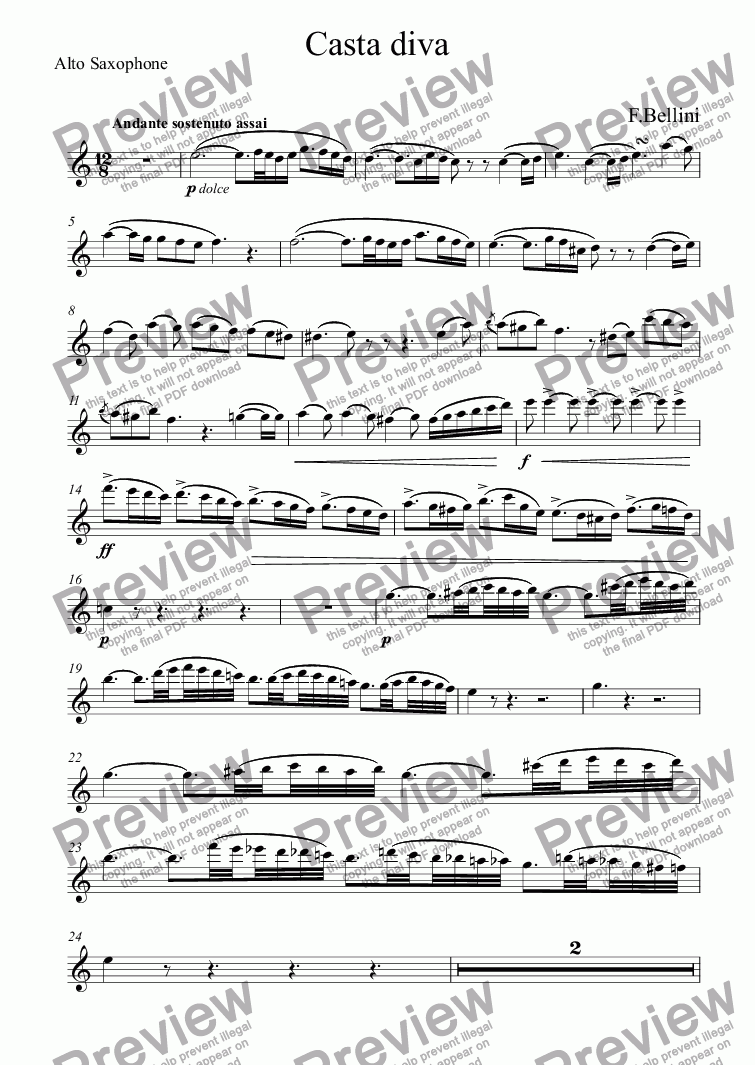 page one of the Alto Saxophone part from Casta diva