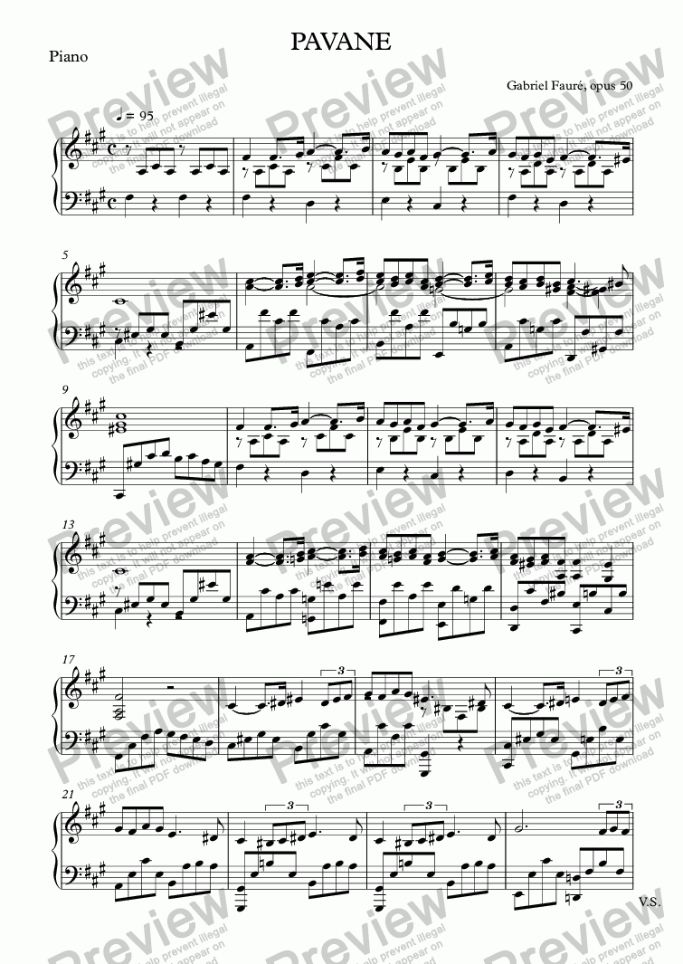 page one of the Piano part from PAVANE
