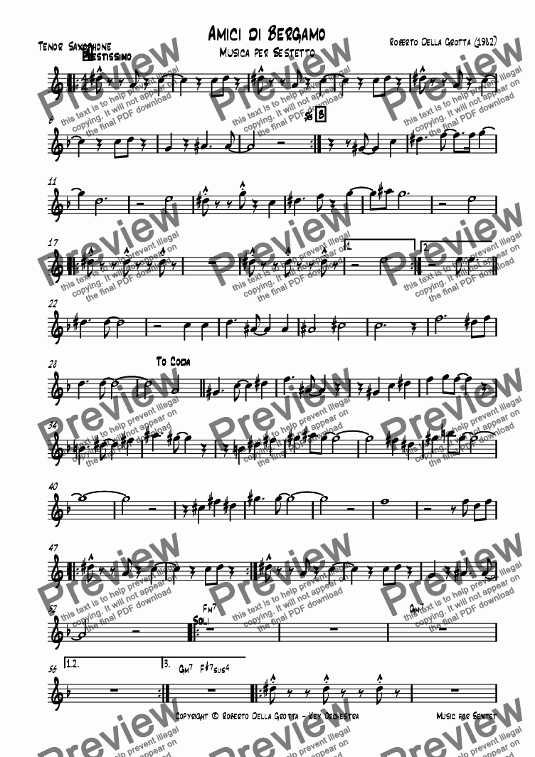 page one of the Tenor Saxophone part from Amici di Bergamo