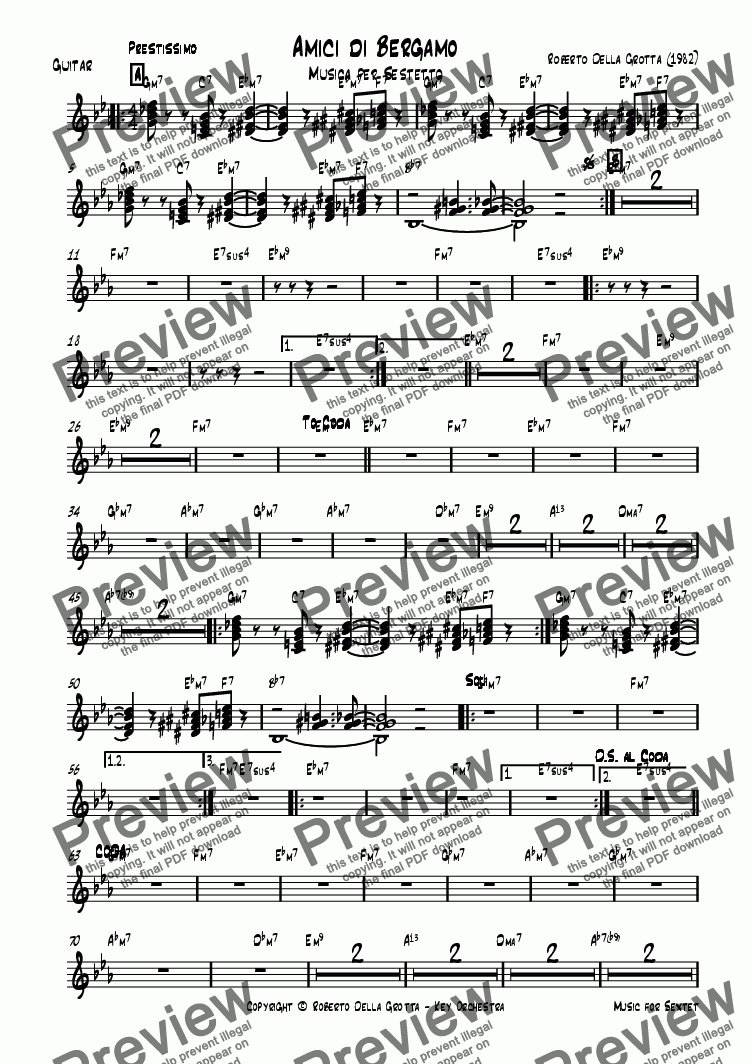 page one of the Guitar or Piano part from Amici di Bergamo