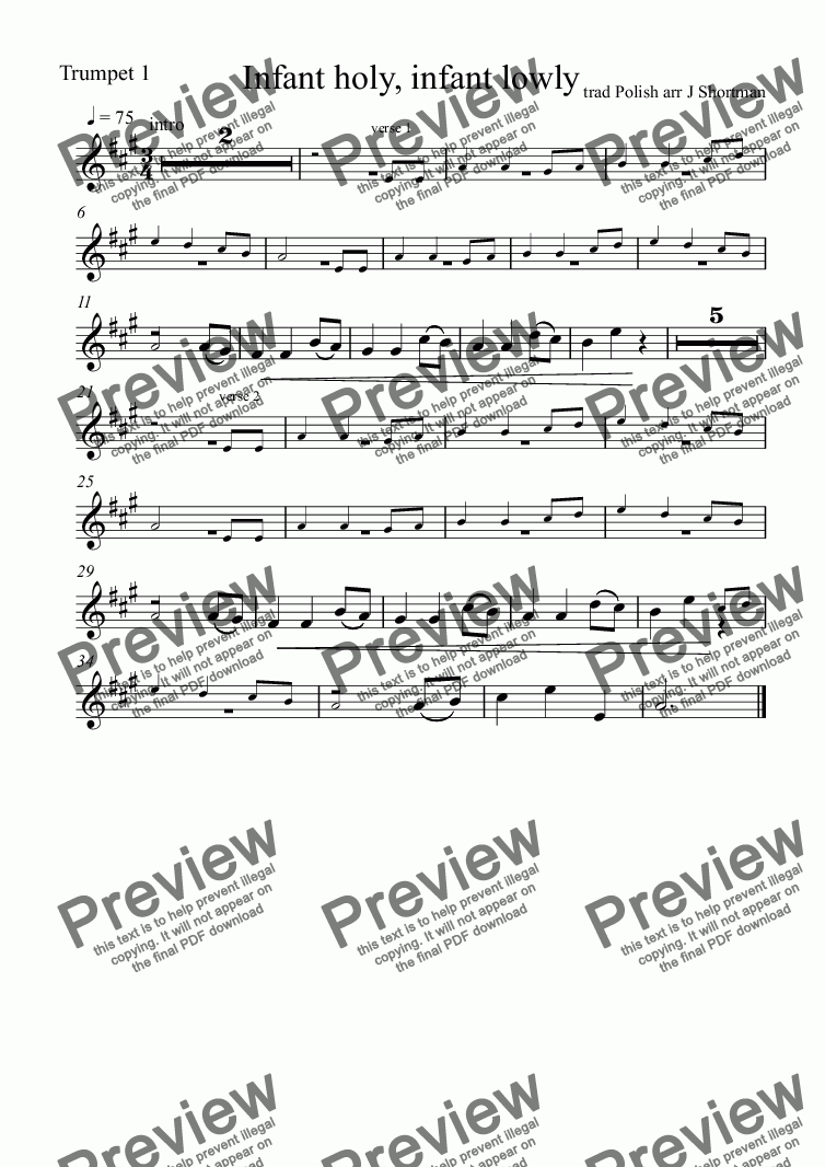 page one of the Trumpet 1 part from Infant Holy, Infant Lowly - Orchestral Arrangement (Christmas Carol)