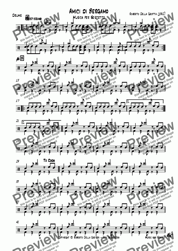 page one of the Drums part from Amici di Bergamo