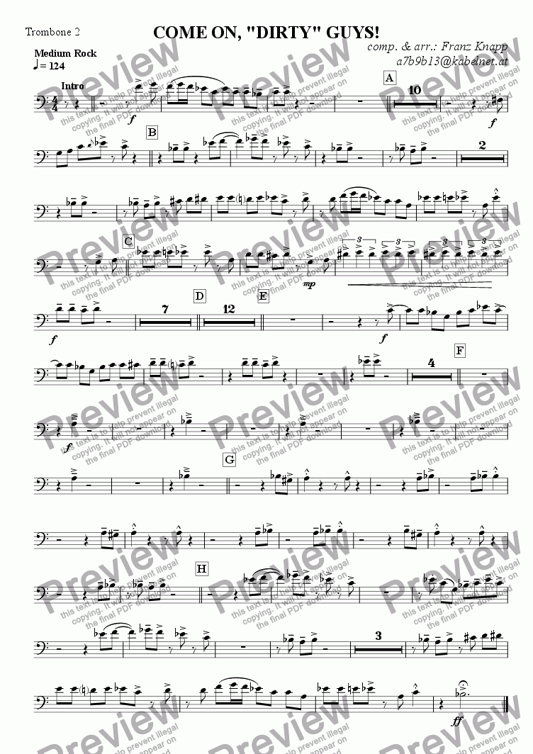 "page one of the Trombone 2 part from Come on, ""dirty"" guys!"