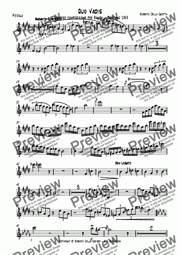 page one of the Piccolo part from Quo Vadis