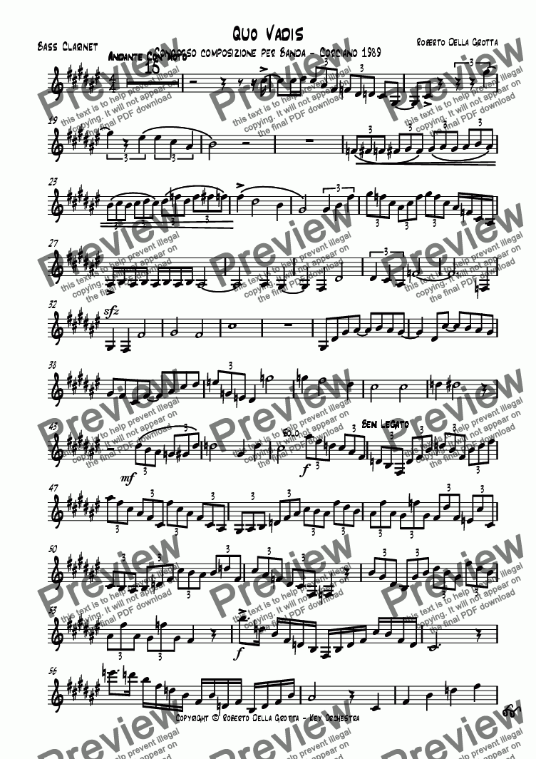 page one of the Bass Clarinet in Bb part from Quo Vadis