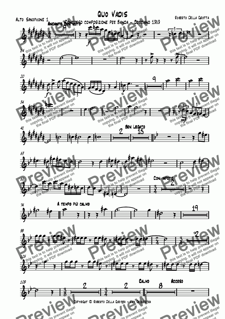 page one of the Alto Saxophone 1 part from Quo Vadis
