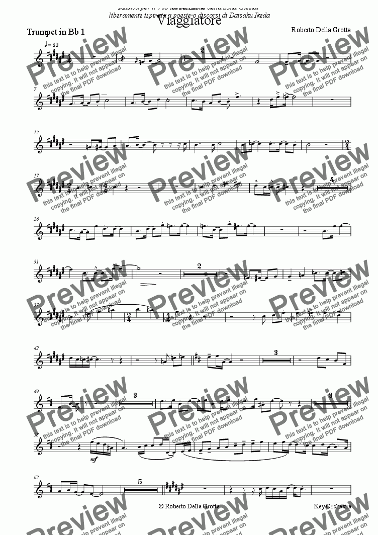 page one of the Trumpet in Bb 1 part from Viaggiatore