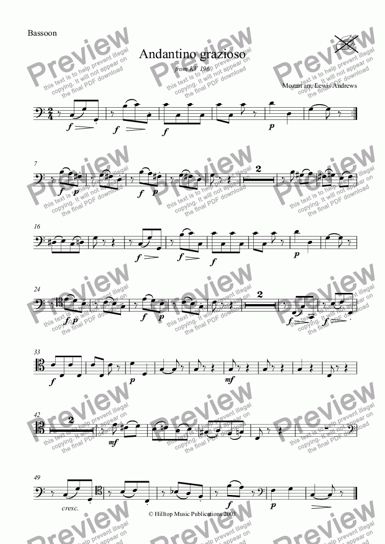 page one of the Bassoon part from Mozart Andantino grazioso from K. 196