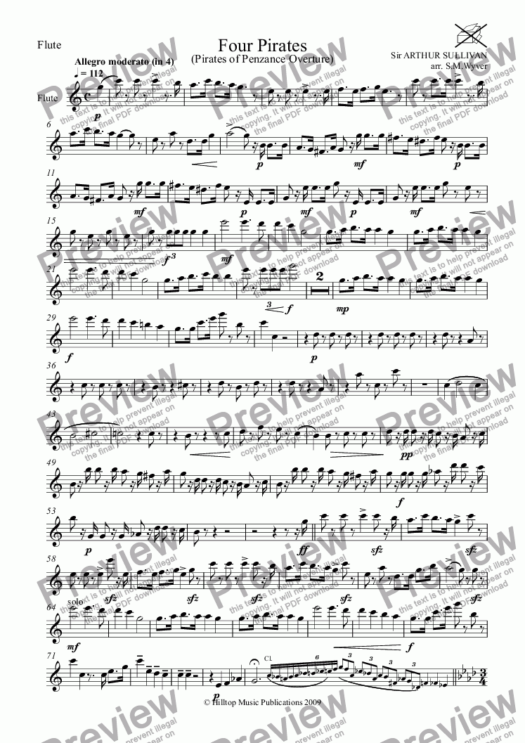 page one of the Flute part from Four Pirates