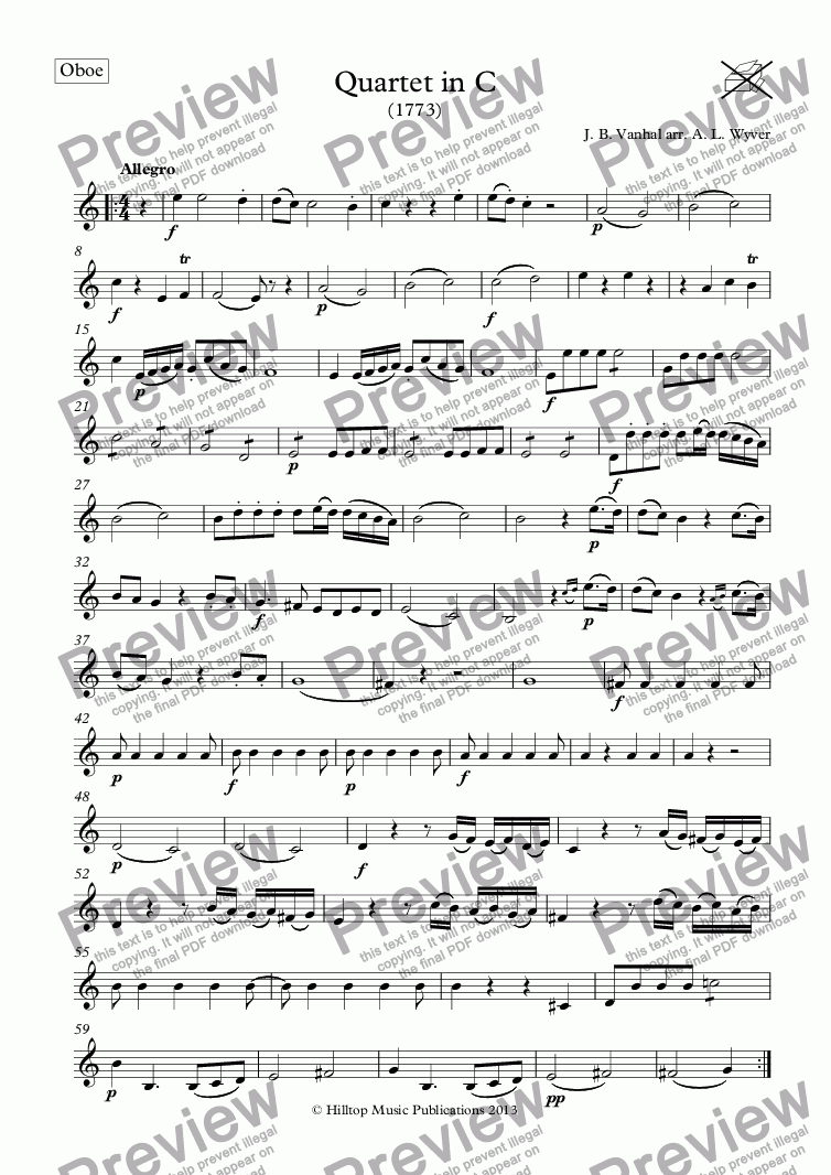 page one of the Oboe part from Vanhal Quartet in C
