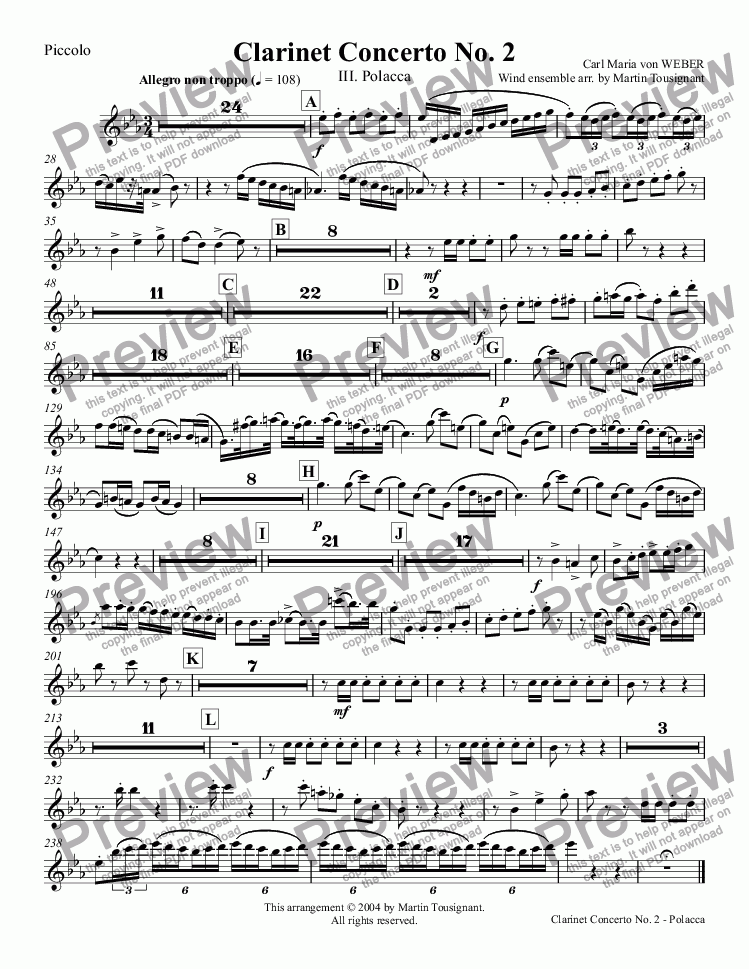 page one of the Piccolo part from Clarinet Concerto No. 2 - Polacca