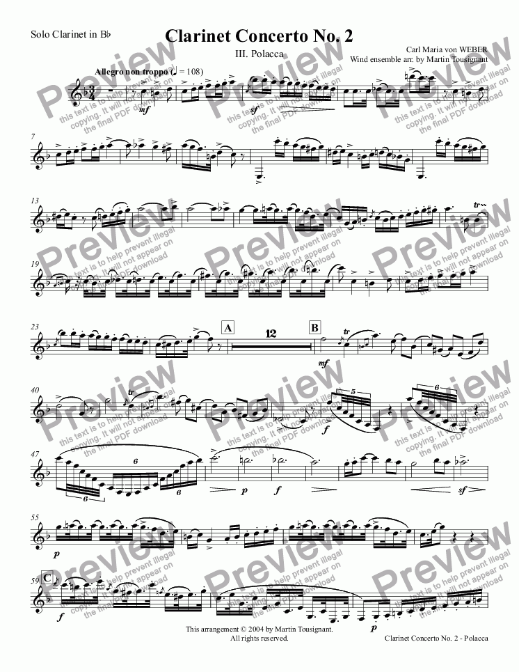 page one of the Solo Clarinet in B^b part from Clarinet Concerto No. 2 - Polacca