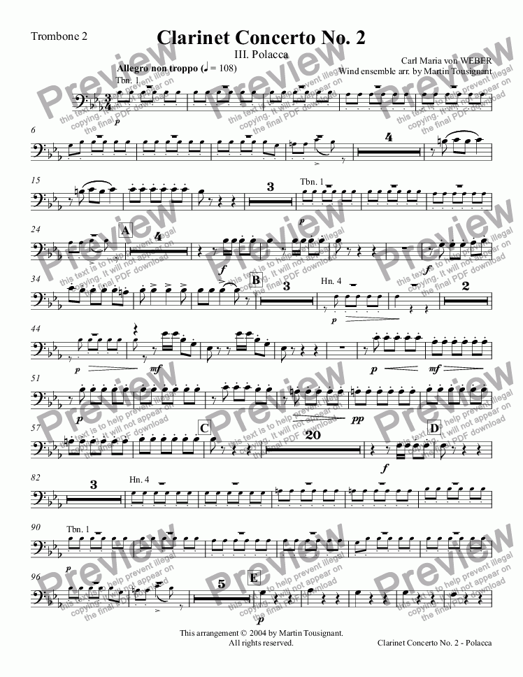 page one of the Trombone 2 part from Clarinet Concerto No. 2 - Polacca