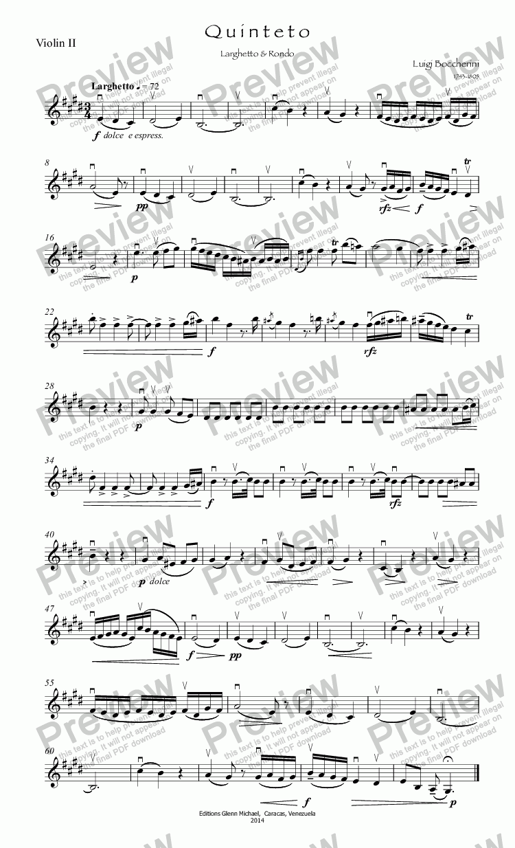 page one of the Violin II part from Boccherini Flute quintet in E