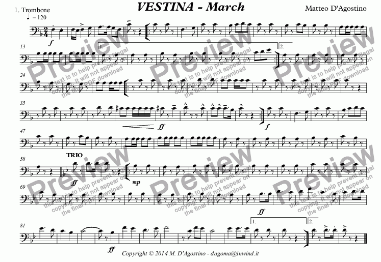 page one of the 1. Trombone part from VESTINA - March