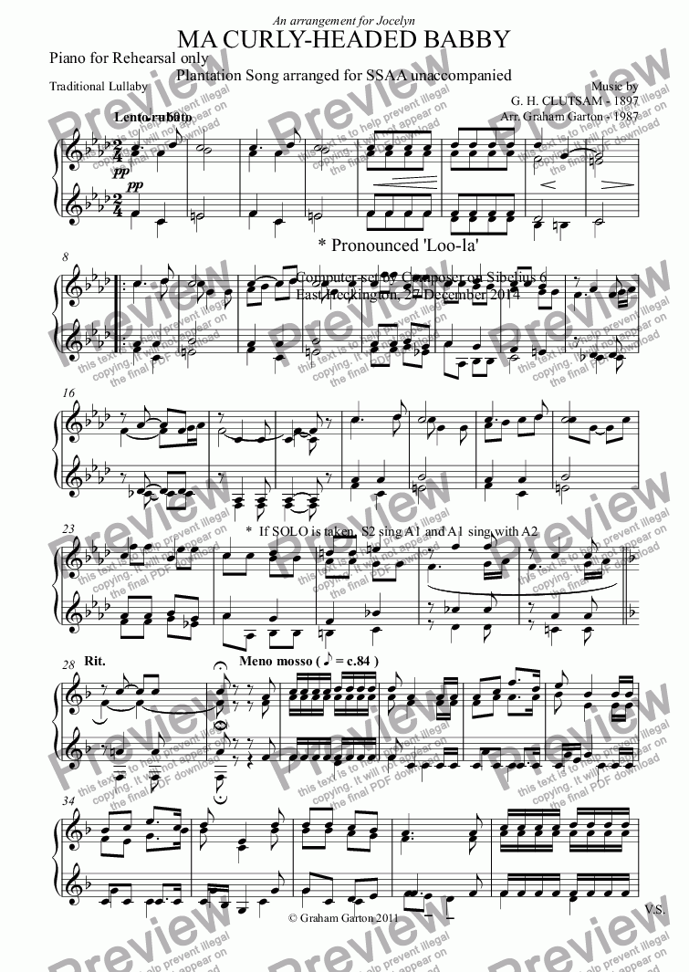 page one of the Piano for Rehearsal only part from SONG - 'MA CURLY-HEADED BABBY' Plantation Song arranged for SSAA unaccompanied with optional SOLO (See also Classical Guitar arrangement.)
