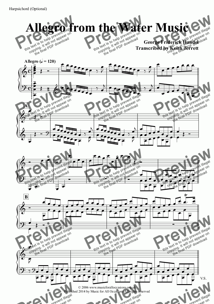 page one of the Harpsichord (Optional) part from Allegro from the Water Music for a quartet of Flutes, French Horns & Concert Band