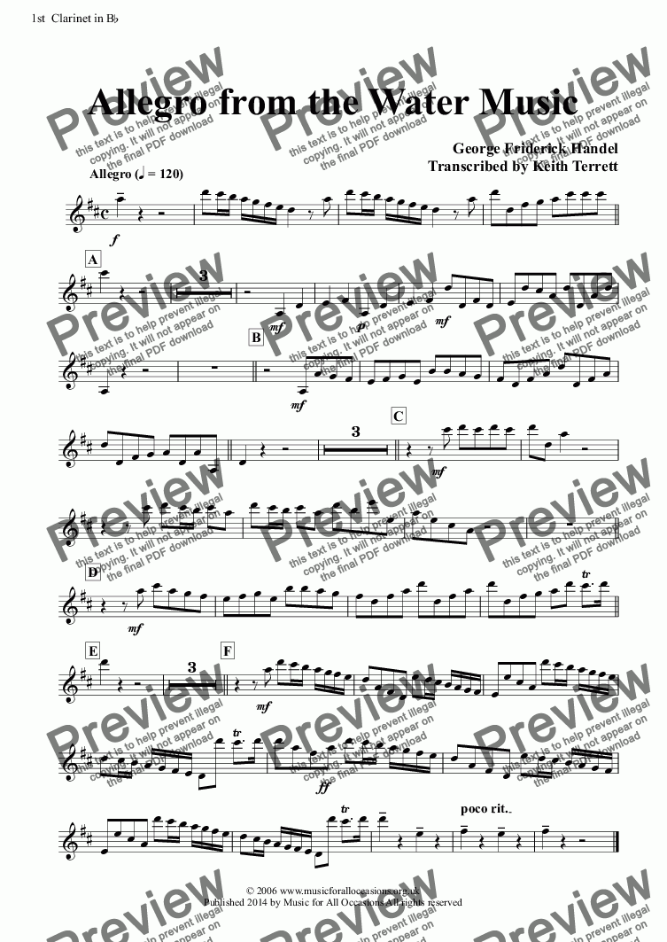 page one of the 1st  Clarinet in B^b part from Allegro from the Water Music for a quartet of Flutes, French Horns & Concert Band