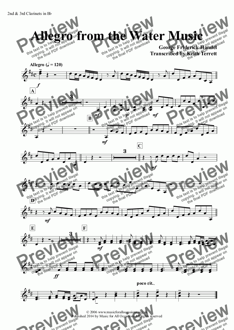 page one of the 2nd & 3rd Clarinets in B^b part from Allegro from the Water Music for two Bb Euphoniums (TC), two French Horns & Concert Band