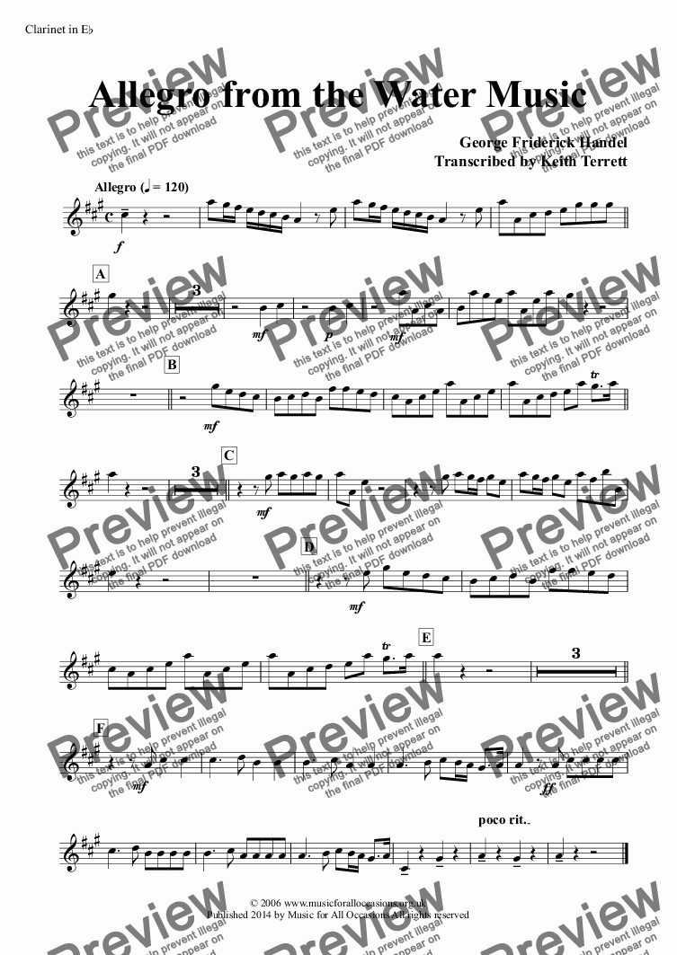 page one of the Clarinet in E^b part from Allegro from the Water Music for two Bb Euphoniums (TC), two French Horns & Concert Band