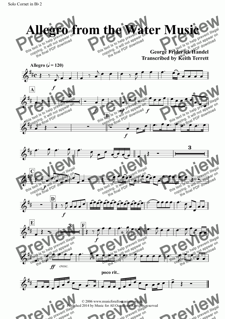 page one of the Solo Cornet in B^b 2 part from Allegro from the Water Music for two solo Bb Cornets, two Eb Tenor Horns & Brass Band