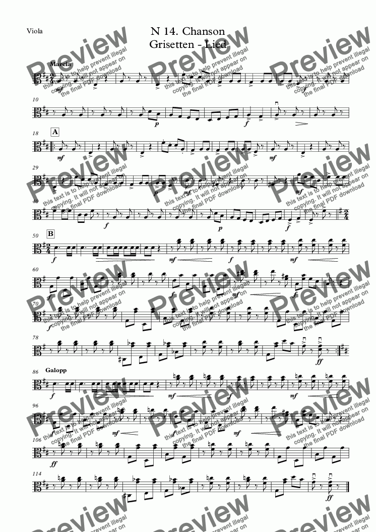 page one of the Viola part from N 14. Chanson Grisetten - Lied