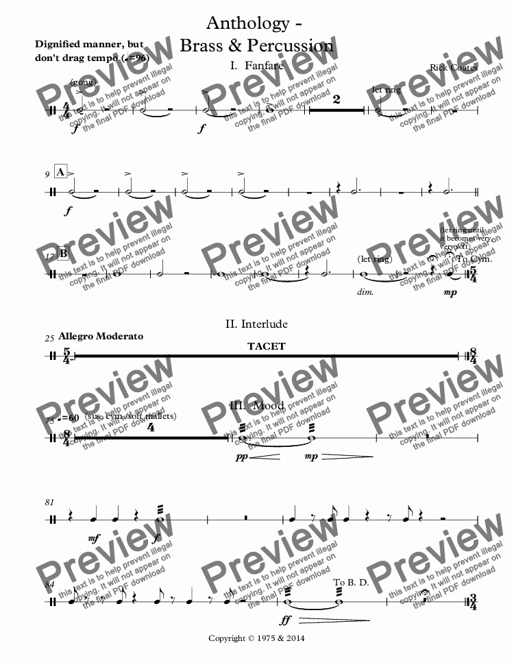 page one of the Percussion 2  (gong, sus. cym. bass drum), Bass Drum part from Anthology -  Brass & Percussion