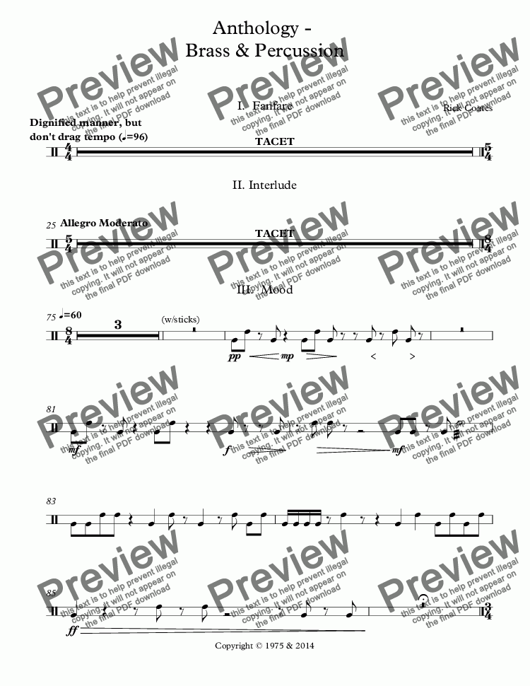page one of the Percussion 3 (timbales,  snare drum), Snare Drum part from Anthology -  Brass & Percussion