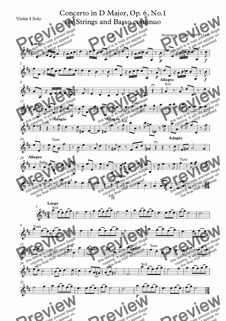 page one of the Violin I Solo part from Corelli - Concerto in D Major, Op. 6, No.1 for Strings and Basso continuo
