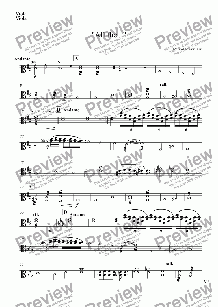 "page one of the Viola part from ""All the..."""