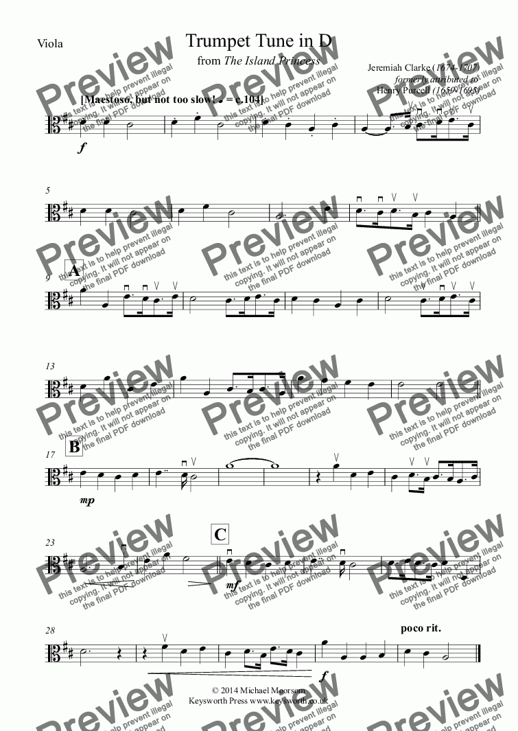 page one of the Viola part from Trumpet Tune in D