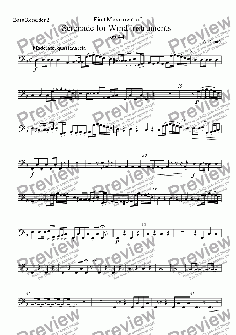 page one of the Bass recorder 2 part from Serenade op. 44 (first movement)