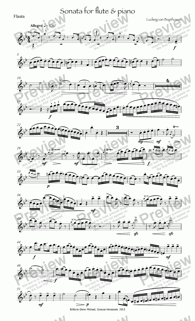 page one of the Flauta part from Beethoven Sonata for flute & piano