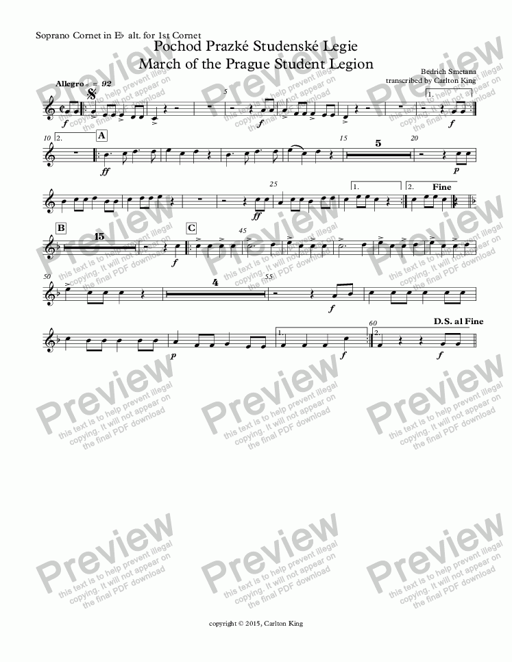 page one of the Soprano Cornet in E^b^ alt. for 1st Cornet part from March of the Prague Student Legion (10-piece)