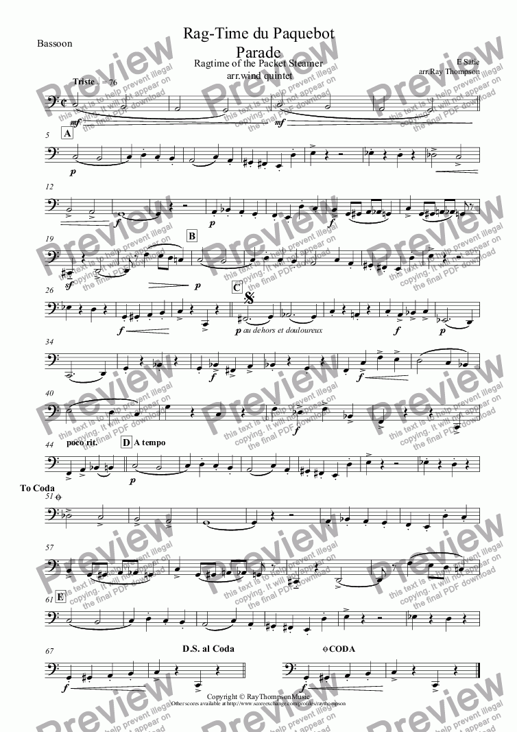 page one of the Bassoon part from Satie:Ragtime from Parade (Rag-Time du Paquebot)( Ragtime of the Packet Steamer(Steampacket)) arr.wind quintet