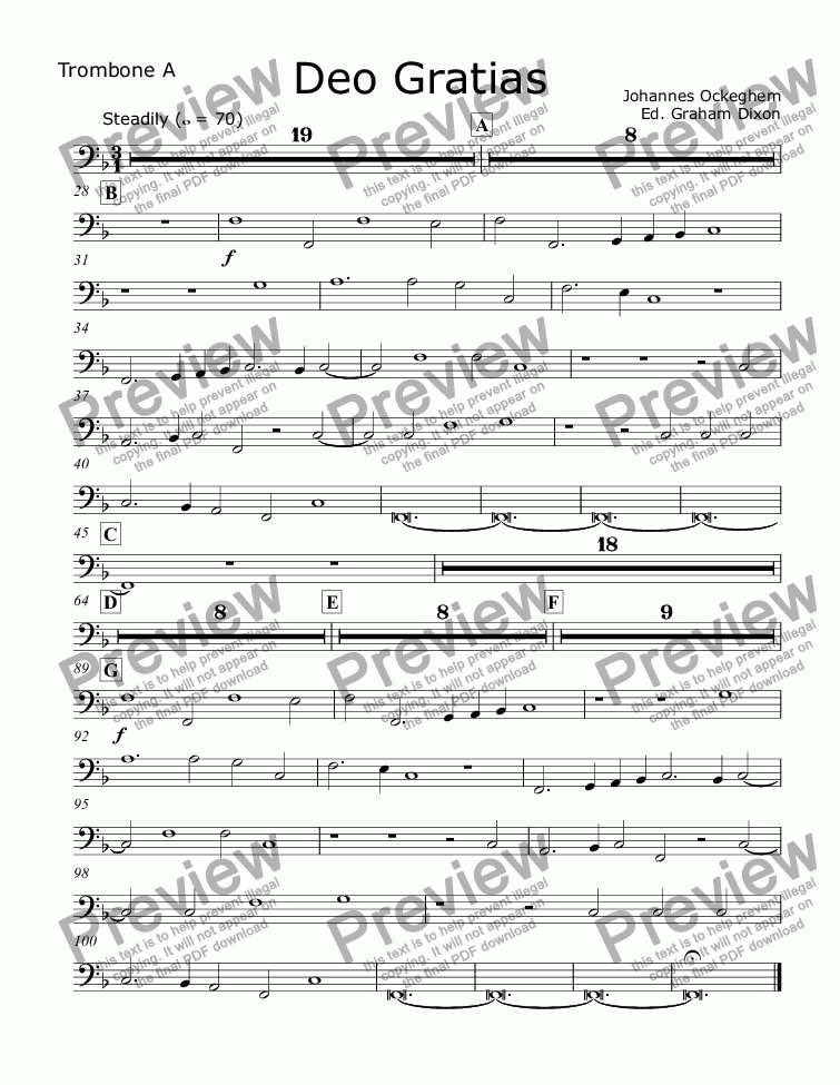 page one of the Tbn A part from Deo Gratias for Large Brass Choir