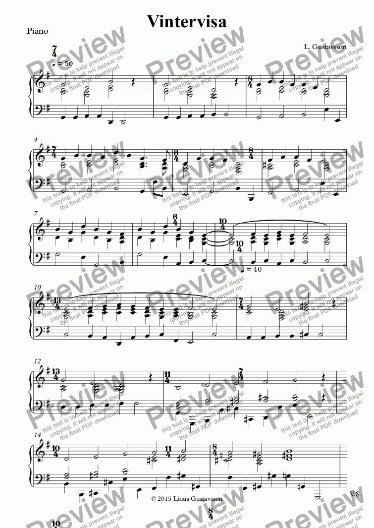 page one of the Piano part from Vintervisa