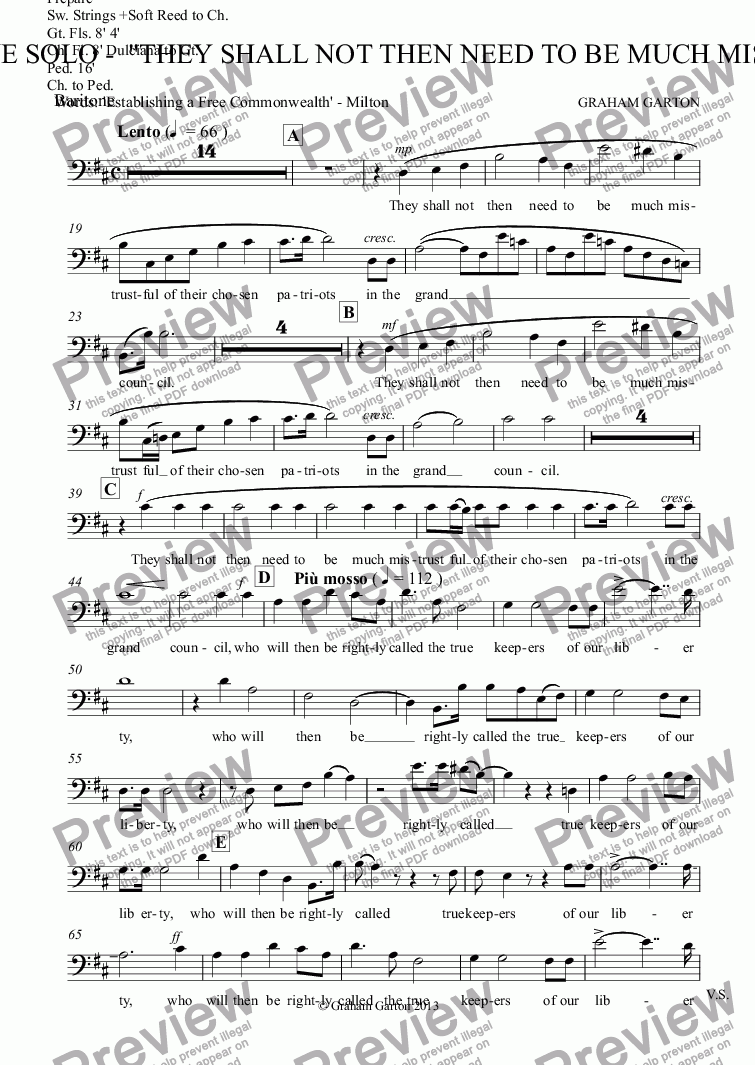 "page one of the Baritone part from MAGNA CARTA CANTATA with ORGAN acc. No.5 - BARITONE SOLO -  ""They shall not then need to be much mistrustful"""
