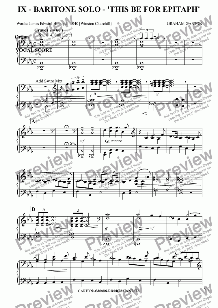 page one of the Organ part from MAGNA CARTA CANTATA with ORGAN acc. No.9 - BARITONE SOLO - 'THIS BE FOR EPITAPH' Vocal Score